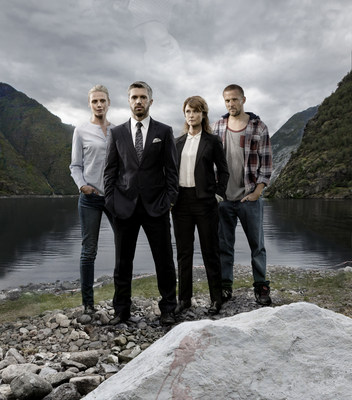(L to R) Synn�ve Macody Lund, Nicolai Cleve Broch, Lena Endre and Tobias Santelmann star in Norwegian drama �Acquitted� premiering this Winter on MHz Choice.