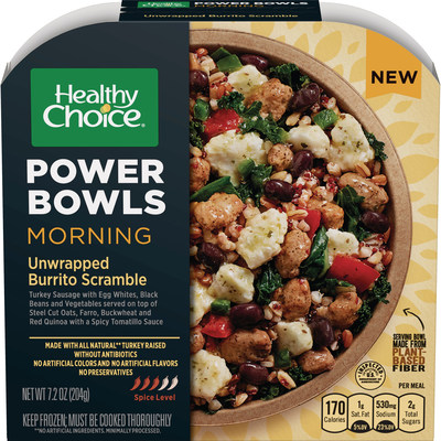 Morning Unwrapped Burrito Scramble – Healthy Choice has launched Morning Power Bowls with four new varieties.