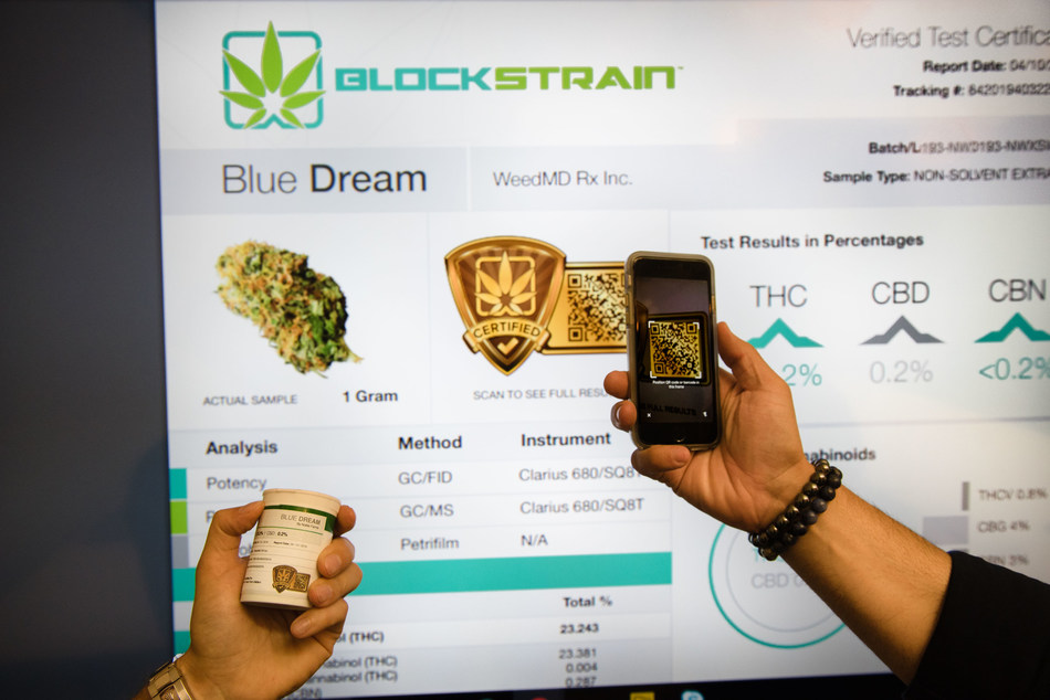 BLOCKStrain Technology displays the interface for their newly developed software solution for cannabis growers and breeders. The BLOCKStrain platform cuts the administrative overhead in half for arranging Quality Control or genetic testing of cannabis, while at the same time creating an immutable database that helps preserve the genetic intellectual property of strains for growers and breeders. (CNW Group/BLOCKStrain Technology Corp.)