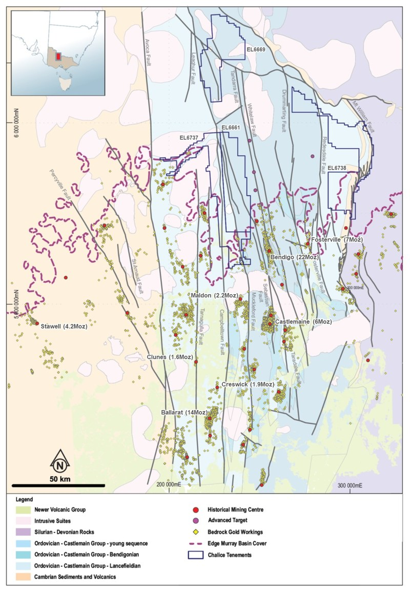 Figure 3. Bendigo Zone regional geology and Chalice tenure (CNW Group/Chalice Gold Mines Limited)
