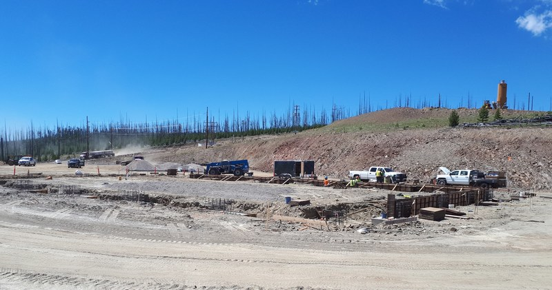 WTP foundation concrete work – note concrete batch plant top right (CNW Group/eCobalt Solutions Inc.)