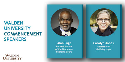 Justice Alan Page, the first African American to serve on the Minnesota Supreme Court, will be the keynote speaker at Walden University's 60th Commencement Ceremony on Saturday, July 28, 2018 in Minneapolis, Minnesota. Additionally, award-winning filmmaker and photographer Carolyn Jones, who specializes in telling stories that shed light on issues of global concern, will be the featured speaker for Walden's nursing ceremony.