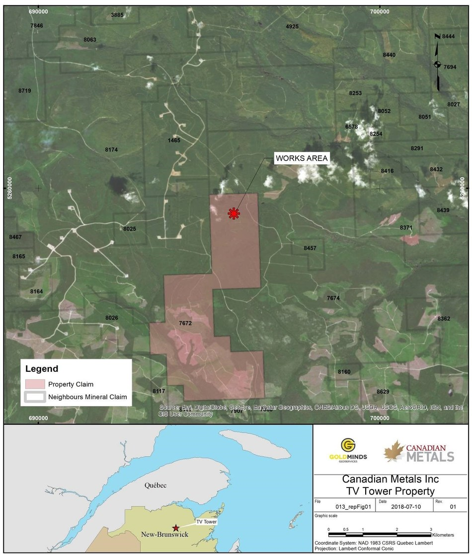 Figure 7: Location Map (CNW Group/Canadian Metals Inc.)