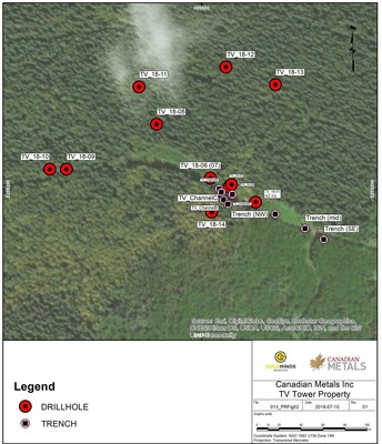 Figure 8: Diamond Drill Hole & Trench Locations (CNW Group/Canadian Metals Inc.)