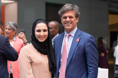 Special Olympics Chairman, Tim Shriver and Head of Heritage and Social Affairs at the UAE Embassy in Washington, DC Dana Al Marashi join athletes and their families at Smithsonian's National Museum of American History (NMAH) to celebrate the 50th anniversary of the first Special Olympics International Games through the debut of a new exhibit, Special Olympics at 50.
