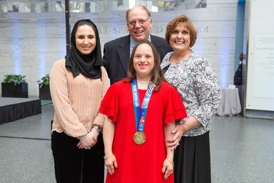 Head of Heritage and Social Affairs at the UAE Embassy in Washington, DC Dana Al Marashi joins athletes and their families at Smithsonian's National Museum of American History (NMAH) to celebrate the 50th anniversary of the first Special Olympics International Games through the debut of a new exhibit, Special Olympics at 50.