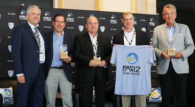 (left to right): Jamie Zaninovich, Pac-12 deputy commissioner and chief operating officer; Richard Gerstein, executive vice president of premium value-added brands and global chief marketing and innovation officer at Unifi; Kevin Hall, Chairman and CEO of Unifi; Jay Hertwig, group vice president of global branded sales at Unifi; and Tom Caudle, president of Unifi