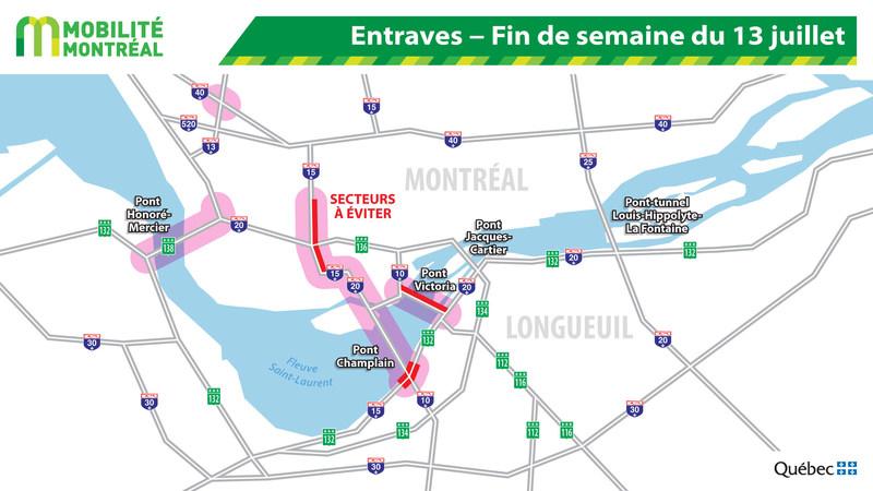 Entraves de la fin de semaine du 13 juillet − Échangeur Turcot (Groupe CNW/Ministère des Transports, de la Mobilité durable et de l'Électrification des transports)