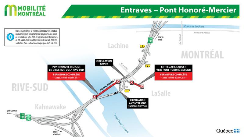 Entraves − Pont Honoré-Mercier (Groupe CNW/Ministère des Transports, de la Mobilité durable et de l'Électrification des transports)
