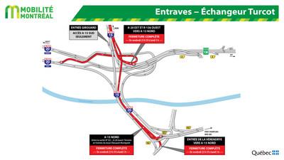 Entraves − Échangeur Turcot (Groupe CNW/Ministère des Transports, de la Mobilité durable et de l