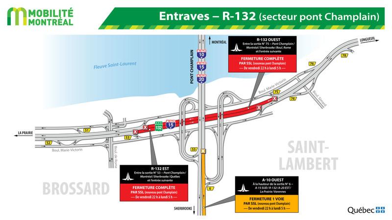 Entraves − R-132 (secteur pont Champlain) (Groupe CNW/Ministère des Transports, de la Mobilité durable et de l'Électrification des transports)