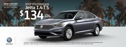 One special during the New Century Volkswagen Summer Sales Event is on the 2019 Volkswagen Jetta S.