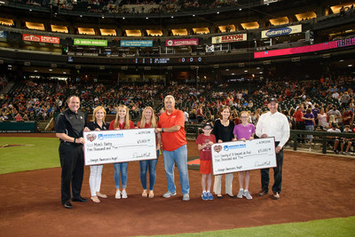 Arizona Milk Producers teamed up with the Arizona Diamondbacks Foundation in an effort to feed our hungry neighbors. Fans bringing three boxes of cereal or making a $10 donation at the game on June 29, received a raffle ticket for a chance to win great prize packages. Fans donated 453 boxes of cereal and $2,770 and the Diamondbacks donated $10,000 all benefiting the Pitch In to End Hunger partners, including local schools, Mom's Pantry, St. Mary's Food Bank, St. Vincent de Paul, and more.