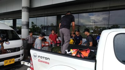 Foton VAN and Pickup Transporting Rescue Personnel and Rescue Materials
