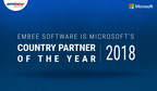 Embee Software - Microsoft's Country Partner of the Year 2018 (PRNewsfoto/Embee Software Pvt. Ltd.)