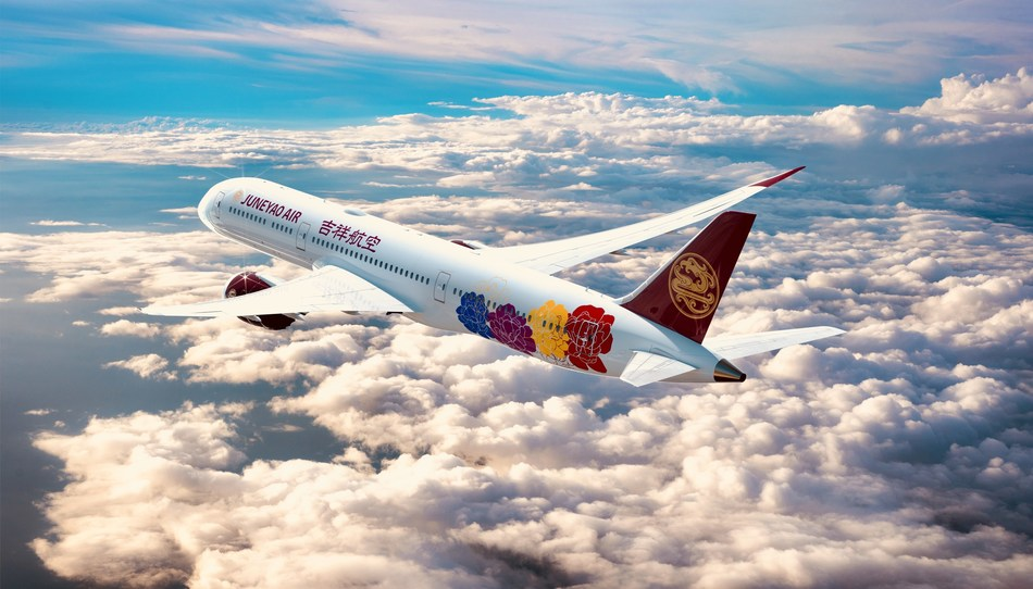 """The first Boeing 787 Juneyao receives will feature the \""""Chinese Peony\"""" livery."""