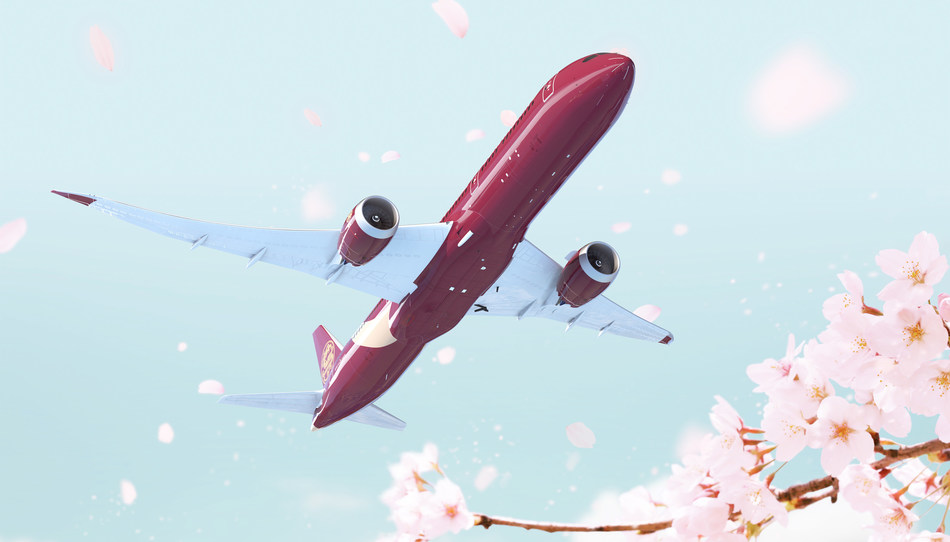 """The \""""Chinese Red\"""" livery for Juneyao\'s Boeing 787."""