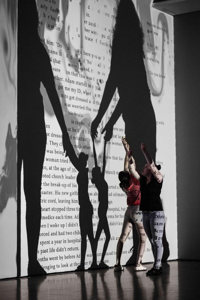 Rafael Lozano-Hemmer, Airborne Newscast, 2013; Projections, surveillance cameras, computers, custom-made software; Courtesy of the artist and bitforms gallery - © Rafael Lozano-Hemmer / SODRAC, Montréal / VEGAP, Madrid (2018); Photo: François Maisonneuve (CNW Group/Musée d'art contemporain de Montréal)