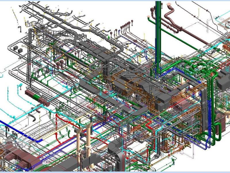Diagramme des systèmes pour le NM Armand Imbeau II, démontrant le niveau de complexité dans un espace limité et étroit. (Groupe CNW/Chantier Davie Canada Inc.)