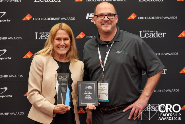 On behalf of Frontage Labs, Wendy Webber Nelson accepts the CRO Leadership Awards from Life Science Leader magazine.