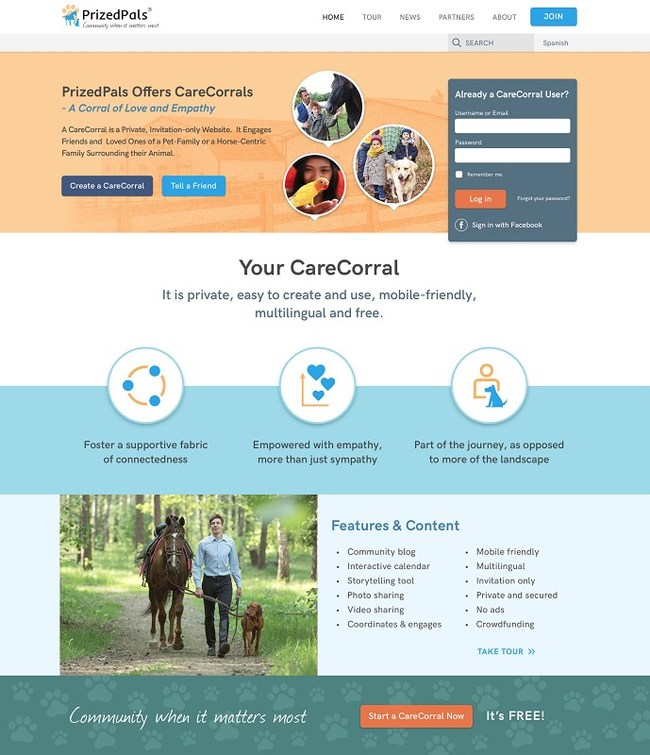 CareCorrals: Invitation-Only Websites for Enabling Loved Ones to Be/Stay Part of the Journey Surrounding a Pet-Family - Quick/Easy to Create and Use, and Free