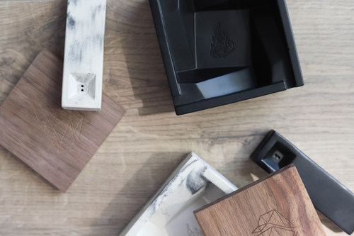 BRNT Designs, a lifestyle and cannabis accessories brand, released two new products: the Faro concrete pipe, and the Briq concrete ashtray. (CNW Group/BRNT Designs)