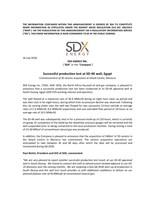 "SDX ENERGY INC. (""SDX"" or the ""Company"") - Successful production test at SD-4X well, Egypt (CNW Group/SDX Energy Inc.)"
