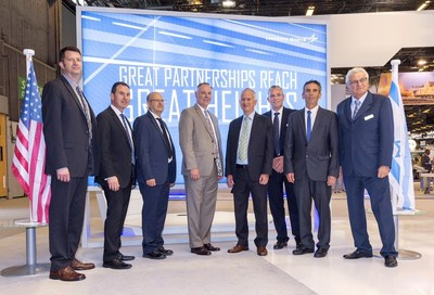 Lockheed Martin Program Manager Patrick Shepherd; Rafael Deputy General Manager BD, Marketing & Strategy Air & C4ISR Division Gideon Weiss; Rafael VP Air-to-Surface Systems, Air & C4ISR Systems Division Alon Shlomi; Lockheed Martin Strike Systems VP Alan Jackson; Rafael Executive VP Marketing and Business Development Giora Katz; Rafael USA CEO & President Azarel Ram; Rafael Business Development Manager Air-to-Surface Systems Uri Benyamini; Lockheed Martin Chief Executive of Israel Joshua Shani.