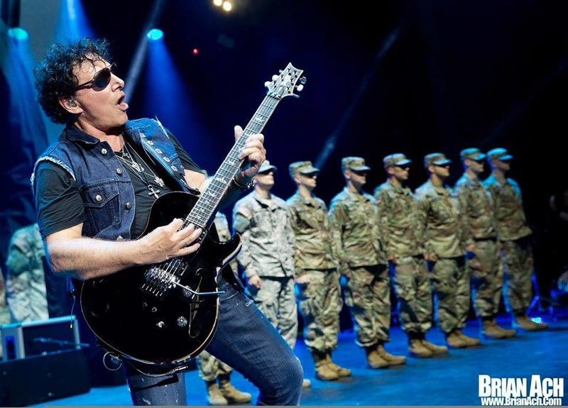 """Neal Schon Performs """"Star-Spangled Banner"""" Before Active Duty Soldiers in Milwaukee, WI 7/4/2018. (PRNewsfoto/Neal Schon)"""