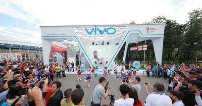 Cheerleaders performing the Vivo Swag to Official Song 'Live it Up' at Vivo commercial display at Luzhniki Stadium, Photo credit: Vivo