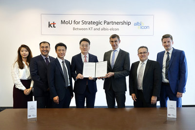 Kim Hyung-Joon, fourth from left, KT's executive vice president and head of the Global Business Unit, Werner Neubauer, fifth from left, chief executive officer of albis-elcon, and other key participants from the two companies pose at the signing ceremony of a memorandum of understanding for strategic cooperation at albis-elcon headquarters in Eschborn, Germany, on July 10.