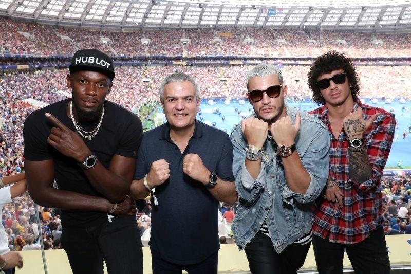 Usain Bolt, Ricardo Guadalupe, DJ Snake and Julian Peretta at the FIFA World Cup (PRNewsfoto/Hublot)
