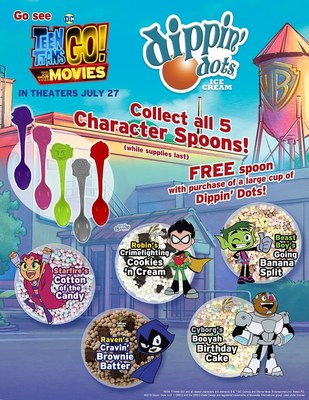 """Dippin' Dots Joins Forces with """"Teen Titans GO! to the Movies"""" with Character Spoons, Sweepstakes"""