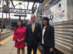 VIA Rail Canada is delighted to promote the Canada-China Year of Tourism by displaying the CCYT logo on some of its trains until September. Mary Ng, Member of Parliament for Markham-Thornhill; Yves Desjardins-Siciliano, President and Chief Executive Officer of VIA Rail; and the Honourable Bardish Chagger, Leader of the Government in the House of Commons and Minister of Small Business and Tourism, held the unveiling today at Toronto Union Station. (CNW Group/VIA Rail Canada Inc.)