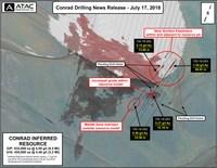 ATAC Resource's Conrad Gold Deposit and July 2018 drill intercepts at the Osiris Project, Yukon (CNW Group/ATAC Resources Ltd.)