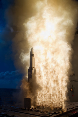 The SM-3® Block IB interceptor has an improved, two-color infrared seeker and an advanced system of guidance rockets that help steer the missile's kill vehicle into the target's path. (Photo: U.S. Missile Defense Agency)