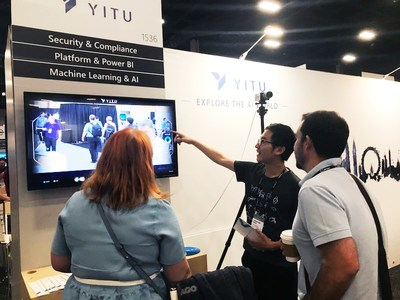 YITU staff demonstrates the up-to-date AI demos to the visitors at Microsoft Inspire 2018 in Las Vegas, July 16.