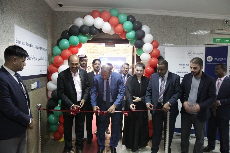 HE Mr Abdulbasit Badawi Al-Sanousi, Ambassador of the Republic of Sudan to the Kingdom of Saudi Arabia (second from left),  inaugurating the first Sudan Visa Application Centre in Riyadh on 15 July 2018 (PRNewsfoto/VFS Global)