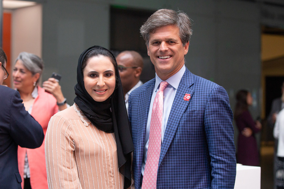 Special Olympics Chairman, Tim Shriver and Head of Heritage and Social Affairs at the UAE Embassy in Washington, DC Dana Al Marashi join athletes and their families at Smithsonian's National Museum of American History (NMAH) to celebrate the 50th anniversary of the first Special Olympics International Games through the debut of a new display, Special Olympics at 50.