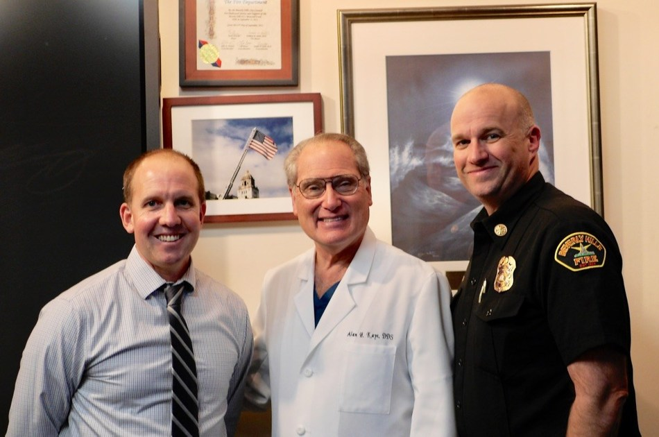 Dr. Kaye gives presentation to Beverly Hills Fire Department.  Left to right: Sean Stokes, EMS Programs Director; Dr. Alan Kaye; Greg Barton, Beverly Hills Fire Chief.