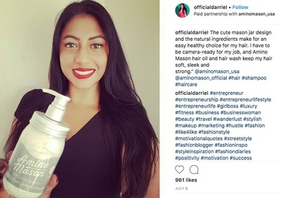 Amino Mason Ambassador of the Month, celebrity and style journalist Darriel Roy, uses the Smooth line of shampoo and conditioner featuring rose, honey and raspberry.