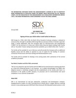 """SDX ENERGY INC. (""""SDX"""" or the """"Company"""") - Signing of three year US$10 million Credit Facility for Morocco (CNW Group/SDX Energy Inc.)"""