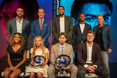 On Tuesday, July 17, 2018 in Los Angeles, California; 2018 Gatorade Male and Female Athlete of the Year award winners JT Daniels of Mater Dei High School (Santa Ana, Calif.) and Katelyn Tuohy of North Rockland High School (Thiells, N.Y.) pose with the pro athletes who presented at the 2016 Gatorade Athlete of the Year Awards. Pictured from left to right: (top row) Travis Kelce, Peyton Manning, Karl Anthony-Towns, Todd Gurley and Abby Wambach (bottom row): Sydney McLaughlin, Katelyn Tuohy, JT Daniels and Sam Darnold. Photo Credit/Gatorade