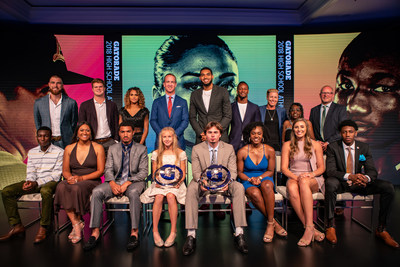 The 2018 Gatorade High School Athlete of the Year awards took place Tuesday, July 17, 2018 in Los Angeles, California. Gatorade Coaching Excellence Award winners, player of the year nominees and pro athlete presenters pictured from left to right include: (top row) Travis Kelce, Sam Darnold, Sydney McLaughlin, Peyton Manning, Karl Anthony-Towns, Todd Gurley, Abby Wambach, Marcia Pinder and Troy McAllister (bottom row): Ousseni Bouda, Megan Faraimo, Anthony Schwartz, Katelyn Tuohy, JT Daniels, Christyn Williams, Thayer Hall and R. J. Barett. Photo Credit/Gatorade