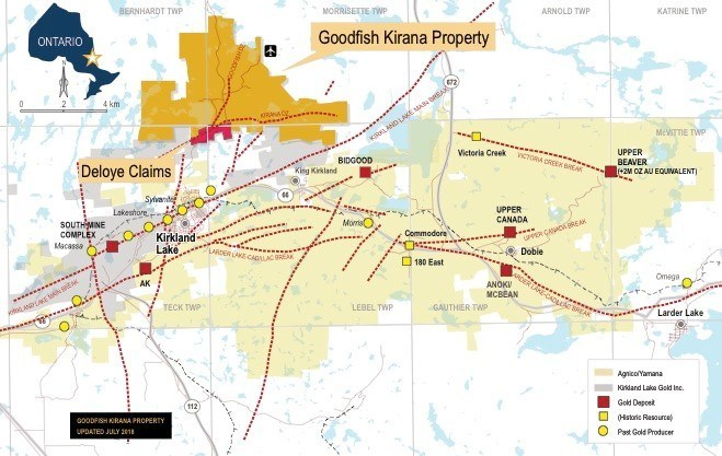 Fig No.3: Goodfish Kirana Property Map with new Deloye Claims. (CNW Group/War Eagle Mining Company Inc)
