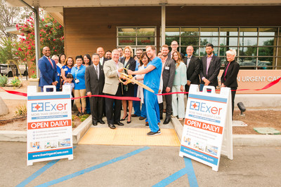 Pasadena Mayor Terry Tornek, Dr. Brian Wilbur, Chief Medical Officer of Exer and Dr. Lori Morgan, President and CEO, Huntington Hospital cut the ribbon at new Exer Pasadena Clinic