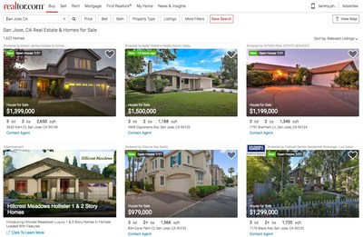 Realtor.com's new desktop experience shows you five properties at first glance, allowing you to see when the listing was added to the site as well as any open houses.