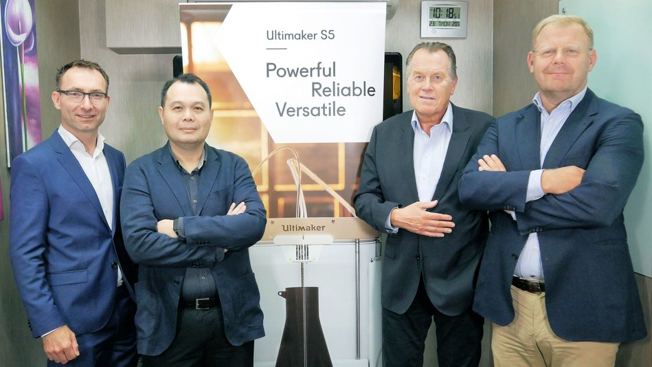 Ultimaker: Siert Wijnia (CTO), Benjamin Tan (VP APAC), Jos Burger (CEO), Paul Heiden (SVP Product Management) (PRNewsfoto/Ultimaker)