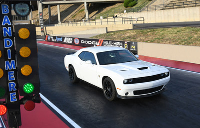 The 2019 Dodge Challenger R/T Scat Pack 1320 is a drag-oriented, street-legal muscle car designed with the grassroots drag racer in mind. Named for the quarter-mile distance (1,320 feet), the Challenger R/T Scat Pack 1320 is powered by the stalwart 392 HEMI® V-8 that delivers 485 horsepower and 475 lb.-ft. of torque. Running the quarter-mile in 11.7 seconds at 115 mph makes the showroom-stock Challenger R/T Scat Pack 1320 the fastest naturally aspirated, street-legal muscle car available.