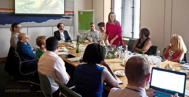 Melanie Onn, MP, discussing self-management as a new care model for IBD patients at roundtable organised by Ampersand Health (PRNewsfoto/Ampersand Health)
